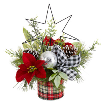 17 Holiday Winter Poinsettia Greenery and Pinecones with North Star Plaid Table Arrangement - SKU #A1849