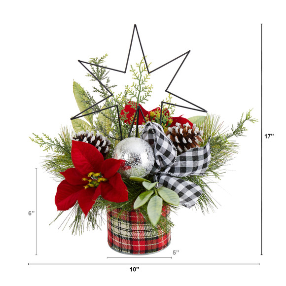 17 Holiday Winter Poinsettia Greenery and Pinecones with North Star Plaid Table Arrangement - SKU #A1849 - 1