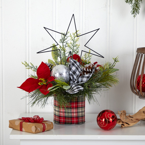 17 Holiday Winter Poinsettia Greenery and Pinecones with North Star Plaid Table Arrangement - SKU #A1849 - 2