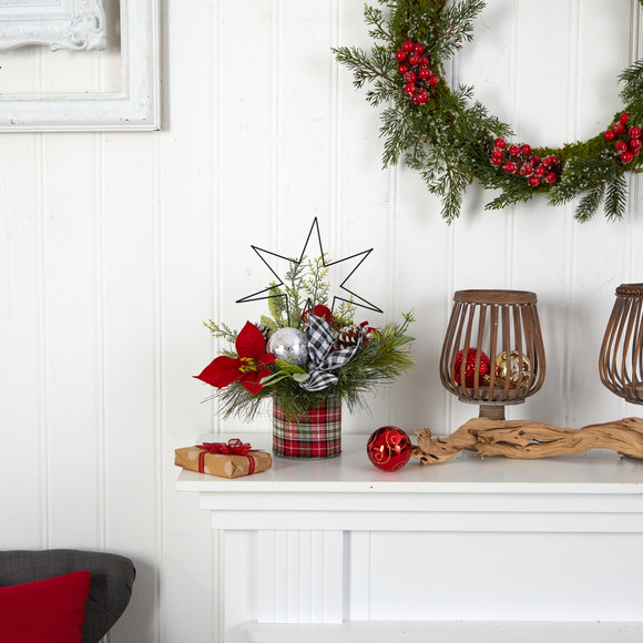 17 Holiday Winter Poinsettia Greenery and Pinecones with North Star Plaid Table Arrangement - SKU #A1849 - 3