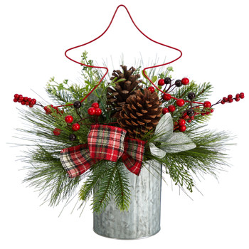 17 Pinecone and Berries Arrangement with Decorative Metal Vase and Wrired Red Tree - SKU #A1850