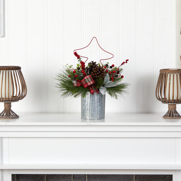 17 Pinecone and Berries Arrangement with Decorative Metal Vase and Wrired Red Tree - SKU #A1850 - 2