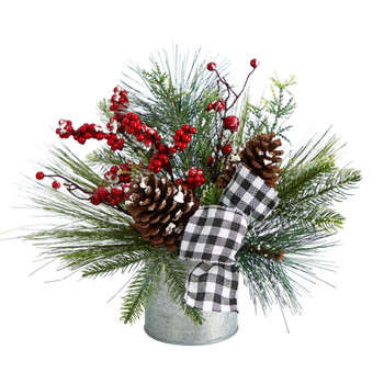 12 Frosted Pinecones and Berries Artificial Arrangement in Vase with Decorative Plaid Bow - SKU #A1851