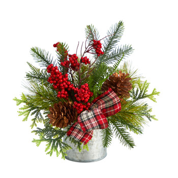 12 Holiday Winter Pinecones Berries Greenery and Plaid Bow Artificial Christmas Table Arrangement - SKU #A1852