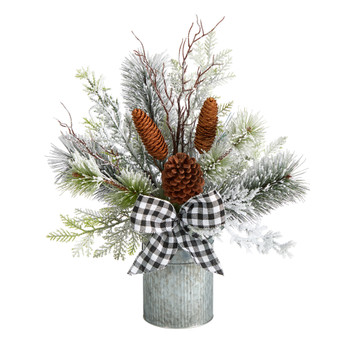 20 Holiday Winter Greenery with Pinecones and Gingham Plaid Bow Table Christmas Arrangement - SKU #A1853