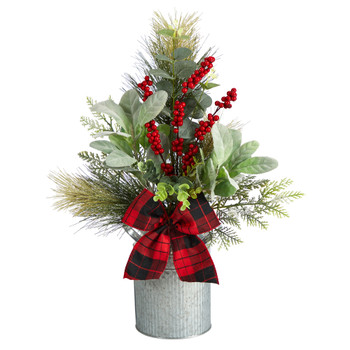 20 Holiday Winter Greenery Pinecone and Berries with Buffalo Plaid Bow Christmas Arrangement - SKU #A1854