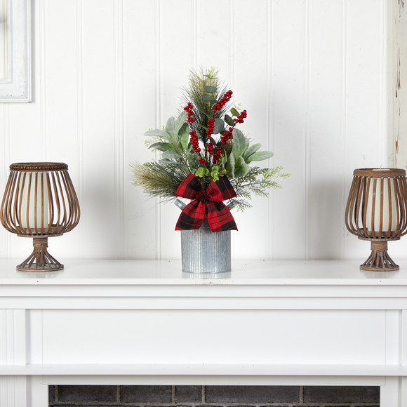 20 Holiday Winter Greenery Pinecone and Berries with Buffalo Plaid Bow Christmas Arrangement - SKU #A1854 - 2