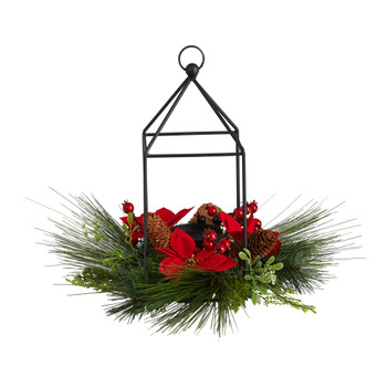 14 Christmas Poinsettia Berry and Pinecone Metal Candle Holder Christmas Table Arrangement - SKU #A1855