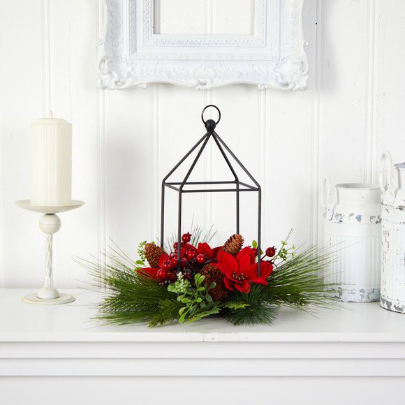 14 Christmas Poinsettia Berry and Pinecone Metal Candle Holder Christmas Table Arrangement - SKU #A1855 - 2