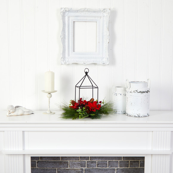 14 Christmas Poinsettia Berry and Pinecone Metal Candle Holder Christmas Table Arrangement - SKU #A1855 - 3
