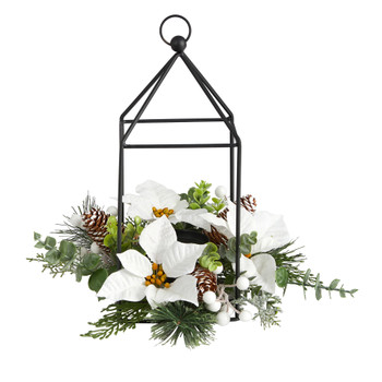 14 Holiday White Poinsettia Berries and Pine Cone Metal Candle Holder Table Christmas Arrangement - SKU #A1856