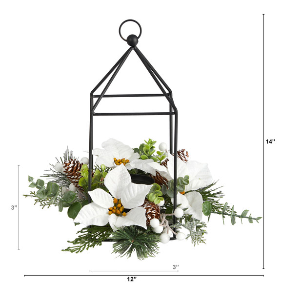 14 Holiday White Poinsettia Berries and Pine Cone Metal Candle Holder Table Christmas Arrangement - SKU #A1856 - 1
