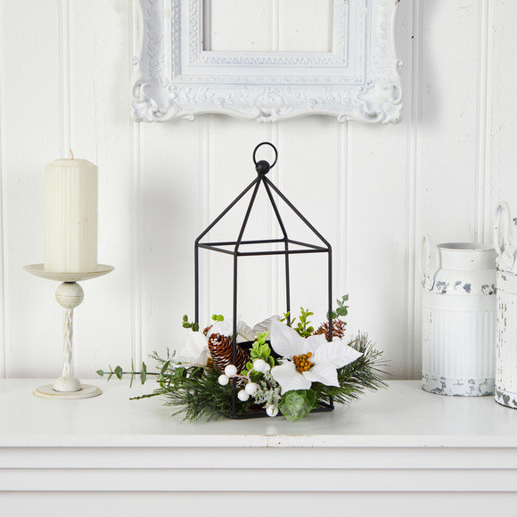 14 Holiday White Poinsettia Berries and Pine Cone Metal Candle Holder Table Christmas Arrangement - SKU #A1856 - 2