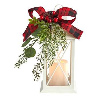12 Holiday White Lantern With Berries Pine and Plaid Bow Christmas Table Arrangement - SKU #A1857