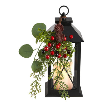 12 Holiday Berries and Greenery Metal Lantern Table Christmas Arrangement with LED Candle Included - SKU #A1858