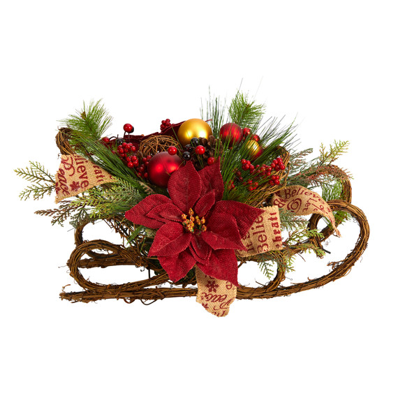 18 Christmas Sleigh with Poinsettia Berries and Pinecone Artificial Arrangement with Ornaments - SKU #A1859