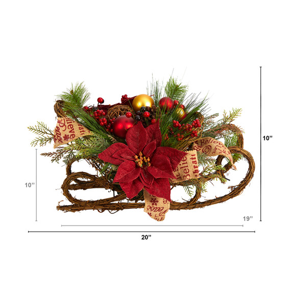 18 Christmas Sleigh with Poinsettia Berries and Pinecone Artificial Arrangement with Ornaments - SKU #A1859 - 1
