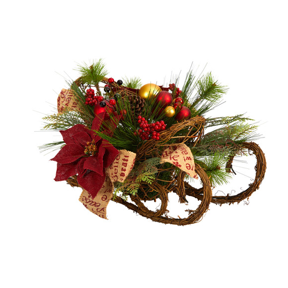 18 Christmas Sleigh with Poinsettia Berries and Pinecone Artificial Arrangement with Ornaments - SKU #A1859 - 2