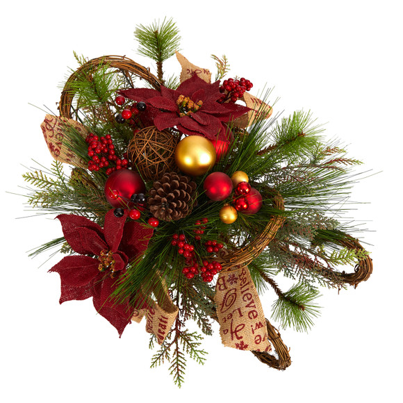 18 Christmas Sleigh with Poinsettia Berries and Pinecone Artificial Arrangement with Ornaments - SKU #A1859 - 3