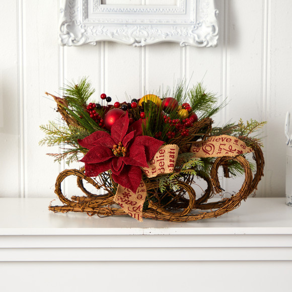 18 Christmas Sleigh with Poinsettia Berries and Pinecone Artificial Arrangement with Ornaments - SKU #A1859 - 4
