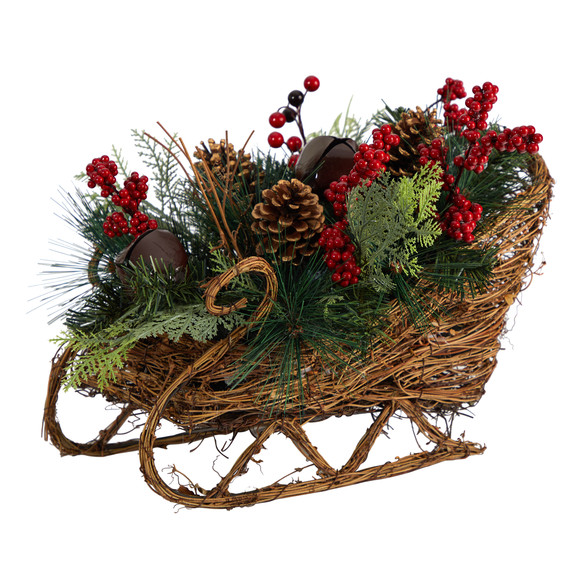 18 Christmas Sleigh with Pine Pinecones and Berries Artificial Christmas Arrangement - SKU #A1860