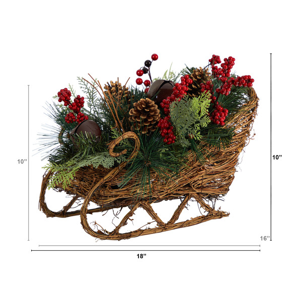 18 Christmas Sleigh with Pine Pinecones and Berries Artificial Christmas Arrangement - SKU #A1860 - 1