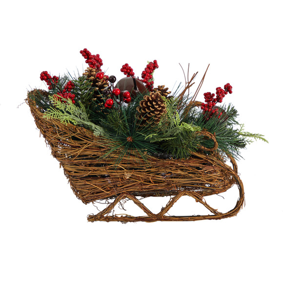 18 Christmas Sleigh with Pine Pinecones and Berries Artificial Christmas Arrangement - SKU #A1860 - 2