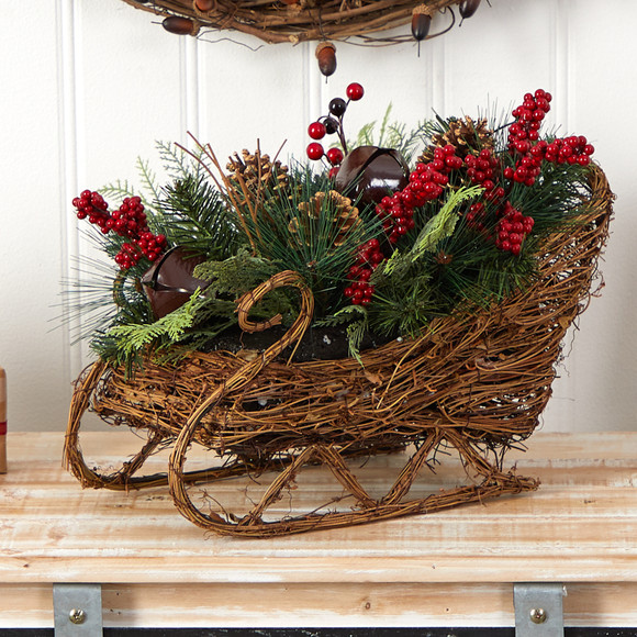 18 Christmas Sleigh with Pine Pinecones and Berries Artificial Christmas Arrangement - SKU #A1860 - 3