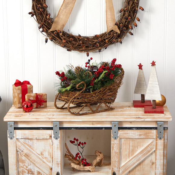 18 Christmas Sleigh with Pine Pinecones and Berries Artificial Christmas Arrangement - SKU #A1860 - 4