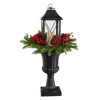 33 Holiday Greenery Berries and Pinecones in Decorative Urn with Large Lantern - SKU #A1861