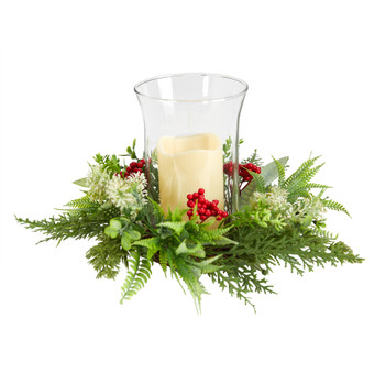 8 Cedar and Berries Artificial Christmas Arrangement Candelabrum - SKU #A1865