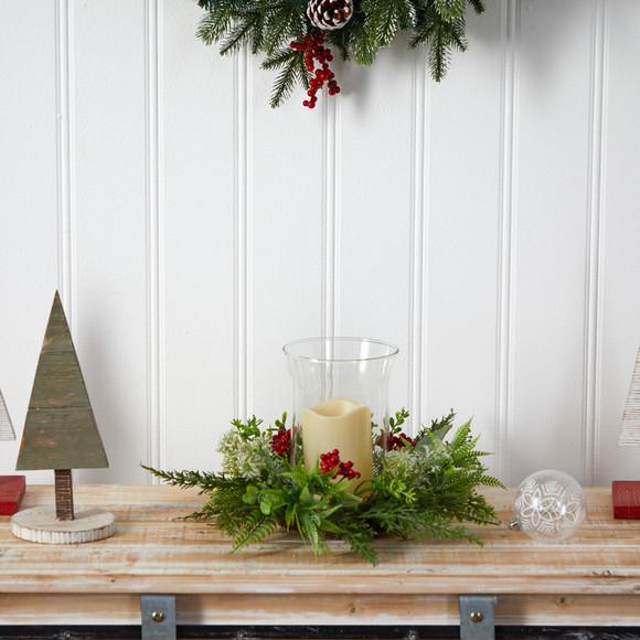 8 Cedar and Berries Artificial Christmas Arrangement Candelabrum - SKU #A1865 - 3