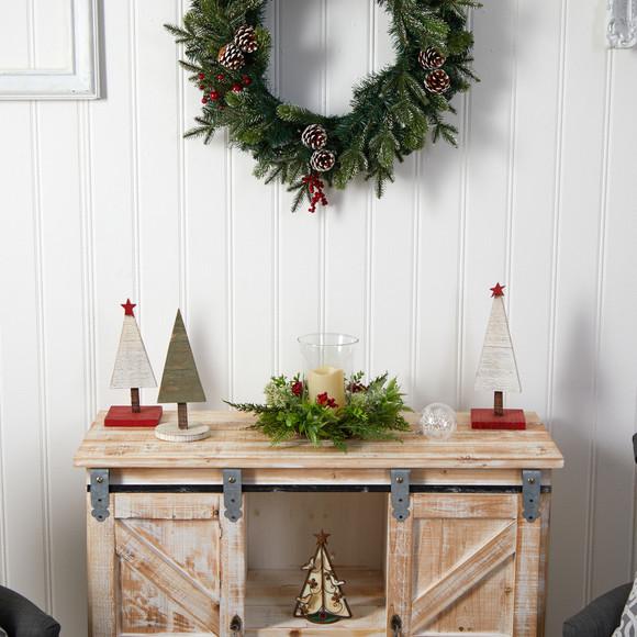 8 Cedar and Berries Artificial Christmas Arrangement Candelabrum - SKU #A1865 - 4