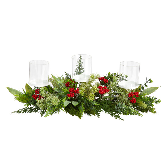 20 Holiday Winter Greenery and Berries Triple Candle Holder Artificial Christmas Table Arrangement - SKU #A1866
