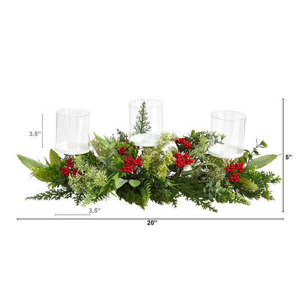 20 Holiday Winter Greenery and Berries Triple Candle Holder Artificial Christmas Table Arrangement - SKU #A1866 - 1