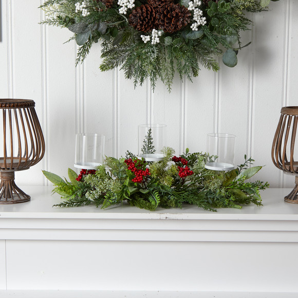 20 Holiday Winter Greenery and Berries Triple Candle Holder Artificial Christmas Table Arrangement - SKU #A1866 - 2