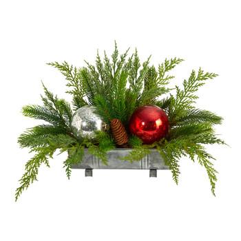 18 Holiday Winter Cedar Pine Artificial Table Christmas Arrangement with Ornaments Home Dcor - SKU #A1867