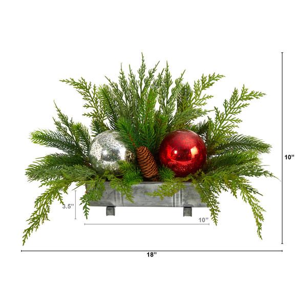18 Holiday Winter Cedar Pine Artificial Table Christmas Arrangement with Ornaments Home Dcor - SKU #A1867 - 1