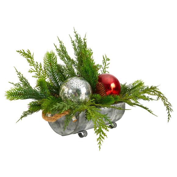 18 Holiday Winter Cedar Pine Artificial Table Christmas Arrangement with Ornaments Home Dcor - SKU #A1867 - 2