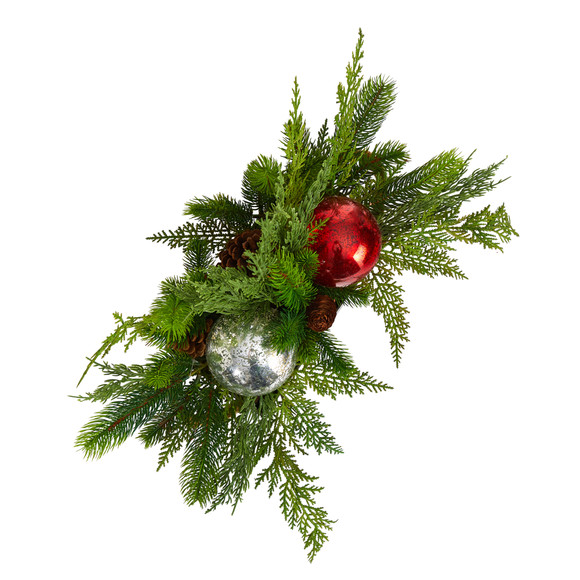 18 Holiday Winter Cedar Pine Artificial Table Christmas Arrangement with Ornaments Home Dcor - SKU #A1867 - 3