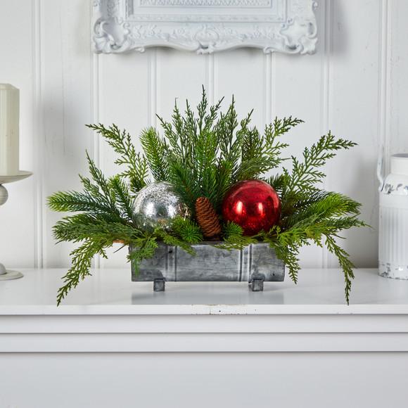 18 Holiday Winter Cedar Pine Artificial Table Christmas Arrangement with Ornaments Home Dcor - SKU #A1867 - 4