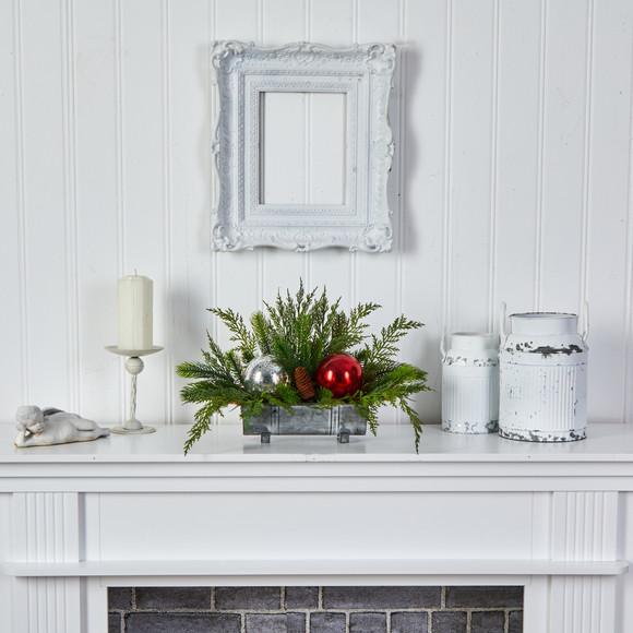18 Holiday Winter Cedar Pine Artificial Table Christmas Arrangement with Ornaments Home Dcor - SKU #A1867 - 5