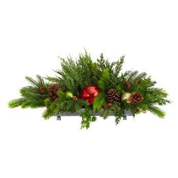 24 Cedar Pine Pinecones and Ornaments Artificial Christmas Arrangement in Tin Vase - SKU #A1868