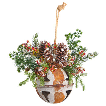 16 Holiday Christmas Jumbo Metal Bell Ornament with Artificial Holly Berries and Pine - SKU #D1052