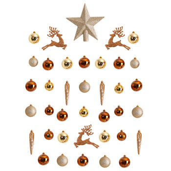 Holiday Christmas 40 Count Lux Shatterproof Ornament Set with Re-Useable Storage Container - SKU #D1054-GL