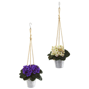 21 African Violet Artificial Plant in Hanging Bucket Set of 2 - SKU #P1002-S2-PW