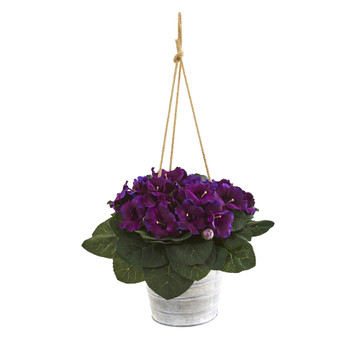 25 Gloxinia Artificial Plant in Hanging Metal Bucket - SKU #P1003