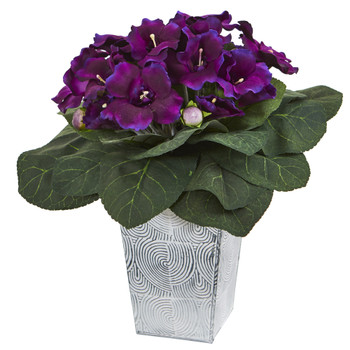13 Gloxinia Artificial Plant in Embossed White Planter - SKU #P1004