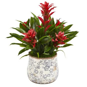 18 Bromeliad Artificial Plant in Floral Vase - SKU #P1011