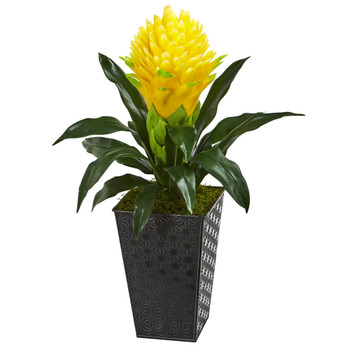 18 Ginger Artificial Plant in Black Embossed Tin Planter - SKU #P1012-YL